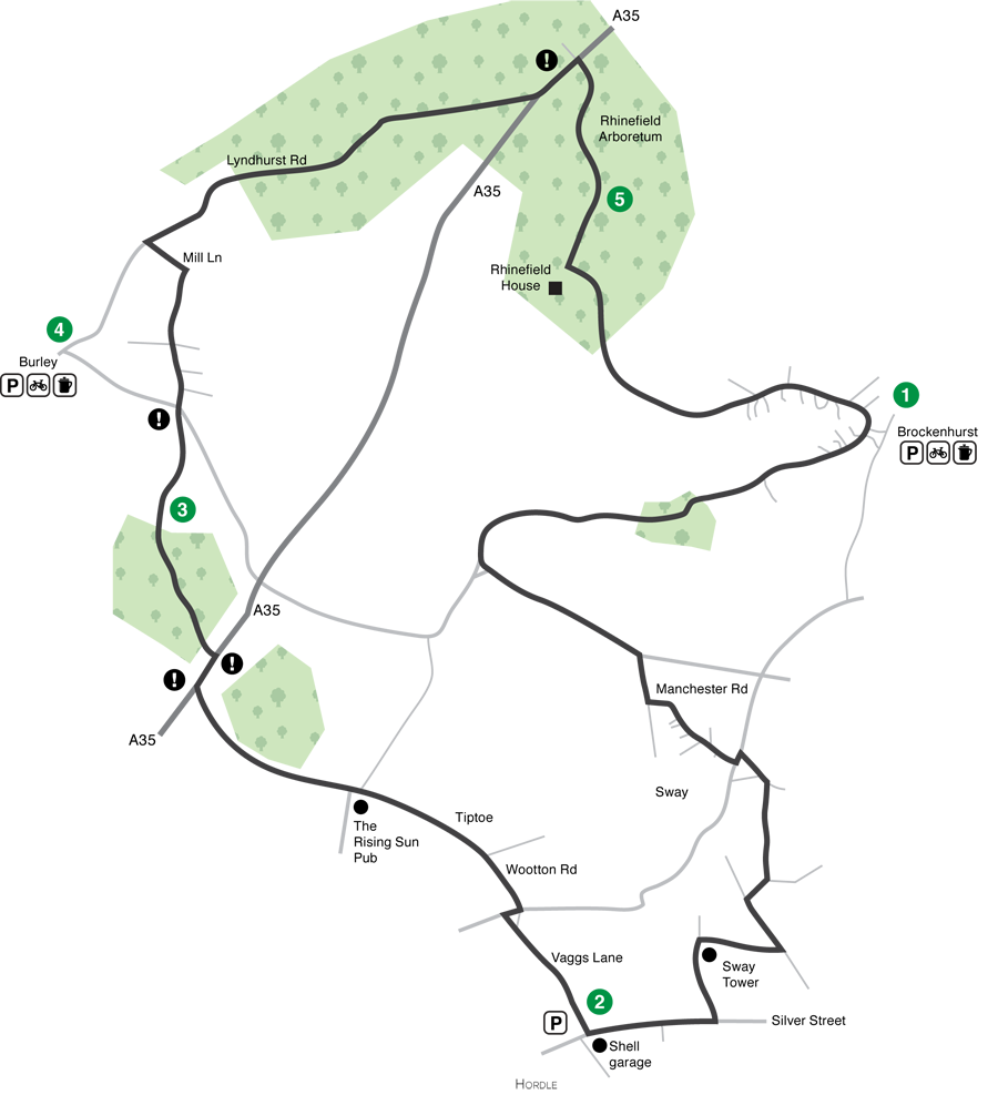 New forest cycle map - rhinefield loop